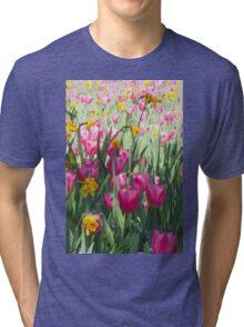 Tulips in a Spring Flower Garden Tri-blend T-Shirt