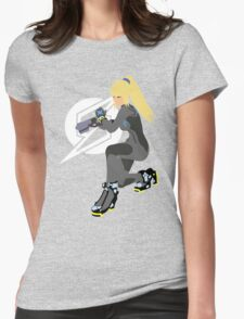 Zero Suit Samus Vector/Minimalist (Black Outfit, White Logo) Womens Fitted T-Shirt