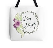 Live Simply Floral Tote Bag