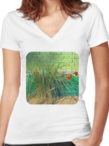Wall Tulips  Women's Fitted V-Neck T-Shirt