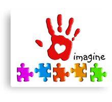 Autism Awareness Childs Hand Canvas Print