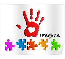 Autism Awareness Childs Hand Poster