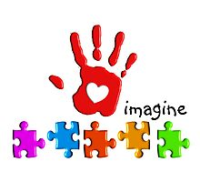 Autism Awareness Childs Hand Photographic Print