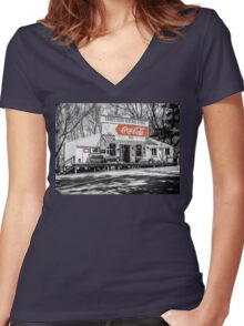 Rabbit Hash Store-Front View SC Women's Fitted V-Neck T-Shirt