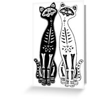 Opposites Attract Kitten Bones Greeting Card