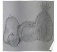 Pencil Drawing Fruit Stillife Poster