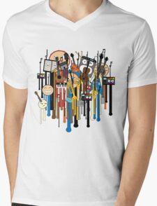 melting faces instruments Mens V-Neck T-Shirt