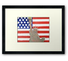 Patriotic Statue of Liberty With American Flag Backdrop Framed Print