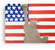 Patriotic Statue of Liberty With American Flag Backdrop Canvas Print