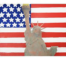 Patriotic Statue of Liberty With American Flag Backdrop Photographic Print