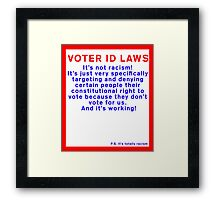 Voter ID Laws: It's Not Racism! Framed Print