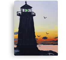 Lighthouse Silhouette At Sunset Canvas Print