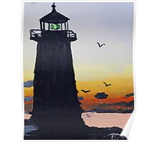 Lighthouse Silhouette At Sunset Poster