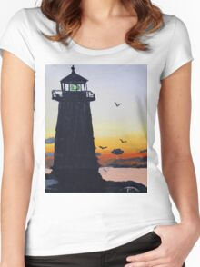 Lighthouse Silhouette At Sunset Women's Fitted Scoop T-Shirt