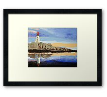 Lighthouse Reflection On The Water Framed Print