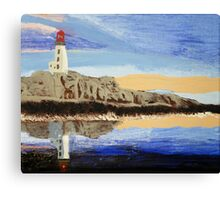 Lighthouse Reflection On The Water Canvas Print
