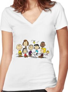 All Peanuts Together Women's Fitted V-Neck T-Shirt