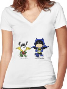 Superheroes Peanuts Women's Fitted V-Neck T-Shirt