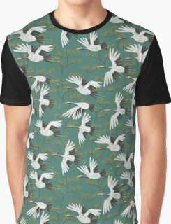 Japanese Crane Pattern Graphic T-Shirt