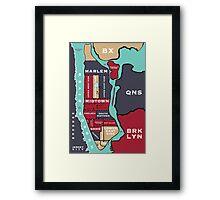 New York City Map Framed Print