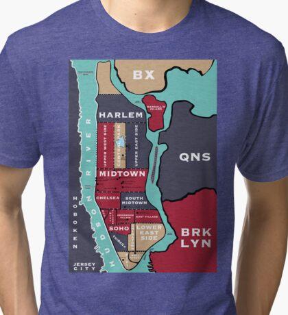 New York City Map Tri-blend T-Shirt
