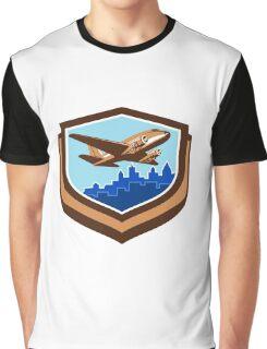 Vintage Airplane Take Off Cityscape Shield Retro Graphic T-Shirt