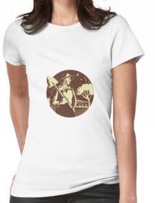 Organic Farmer Holding Shovel Farm Circle Woodcut Womens Fitted T-Shirt