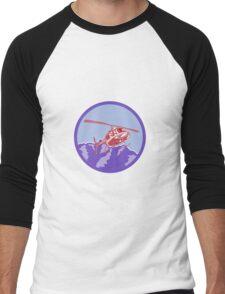 Helicopter Alps Mountains Circle Retro Men's Baseball ¾ T-Shirt
