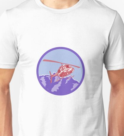 Helicopter Alps Mountains Circle Retro Unisex T-Shirt