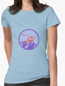 Helicopter Alps Mountains Circle Retro Womens Fitted T-Shirt