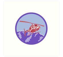 Helicopter Alps Mountains Circle Retro Art Print