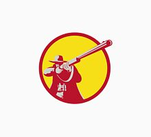 Hunter Aiming Shotgun Rifle Circle Retro Unisex T-Shirt