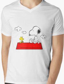Snoopy & Woodstock Mens V-Neck T-Shirt