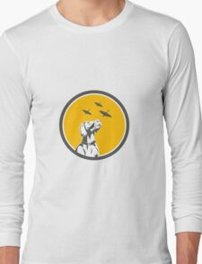 English Pointer Dog Looking at Geese Circle Retro Long Sleeve T-Shirt