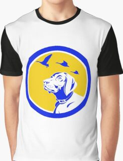 English Pointer Dog Head Looking Up Circle Retro Graphic T-Shirt