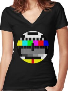 90's TV Test pattern Women's Fitted V-Neck T-Shirt