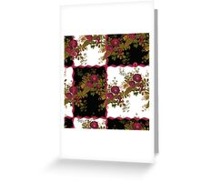 Retro floral poppy pattern, digital print in retro patchwork style Greeting Card
