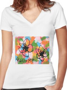 You + Me Women's Fitted V-Neck T-Shirt