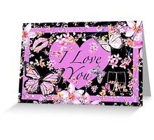 I Love You Thoughts in Pink & Black Greeting Card