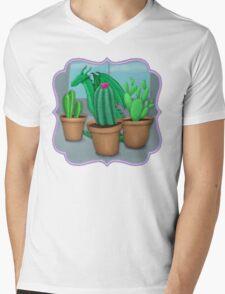 "Dragon ""Hiding"" with Cacti Mens V-Neck T-Shirt"