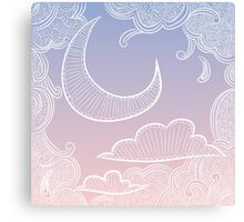 Crescent moon and clouds on pink and purple background Canvas Print
