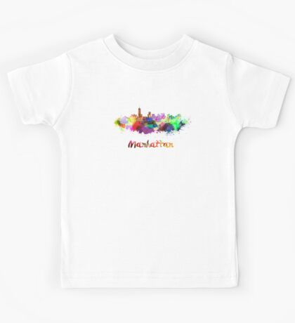 Manhattan skyline in watercolor Kids Tee