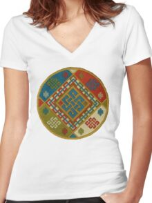 Buddhist Endless Knot Embroidery Women's Fitted V-Neck T-Shirt