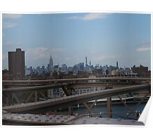 Overlooking Midtown from Brooklyn Bridge Poster