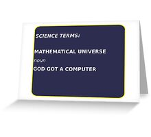 Science Terms - Mathematical Universe Greeting Card
