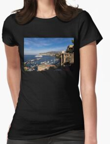 Postcard from Sorrento, Italy - the Harbor, the Boats, and the Famous Clifftop Hotels Womens Fitted T-Shirt