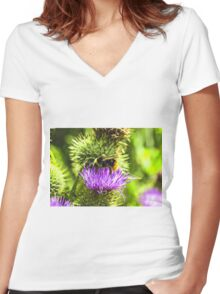 bee on thistle with insects Women's Fitted V-Neck T-Shirt