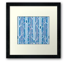 Seamless pattern with trees, light blue Framed Print