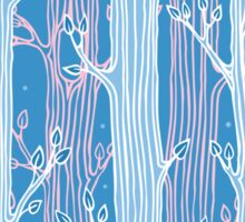 Seamless pattern with trees, light blue Sticker