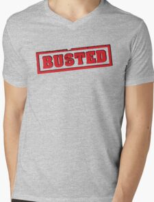 Busted Red Mens V-Neck T-Shirt